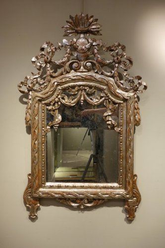 Antiquités - 18th century Mirror in carved wood and silver plated wood