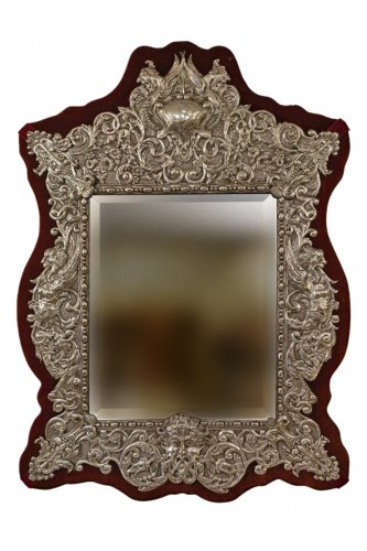 Neo Renaissance 19th Century Silver Plated Mirror, France