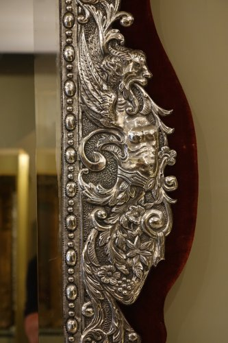 Neo Renaissance 19th Century Silver Plated Mirror, France - Mirrors, Trumeau Style Napoléon III