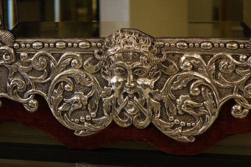 Mirrors, Trumeau  - Neo Renaissance 19th Century Silver Plated Mirror, France