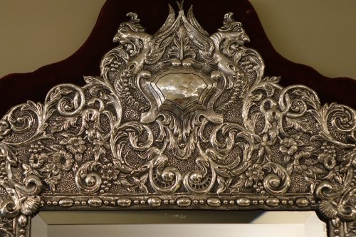 Neo Renaissance 19th Century Silver Plated Mirror, France -