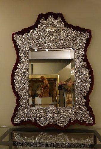 Napoléon III - Neo Renaissance 19th Century Silver Plated Mirror, France