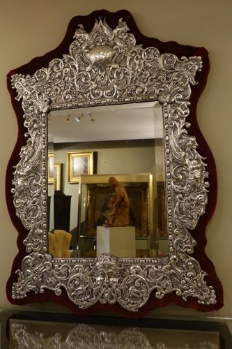 Antiquités - Neo Renaissance 19th Century Silver Plated Mirror, France