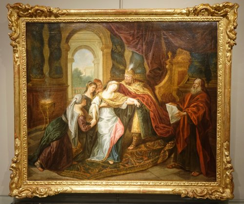 The Fainting of Esther - French school circa 1720  - Paintings & Drawings Style French Regence
