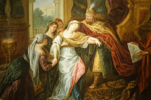18th century - The Fainting of Esther - French school circa 1720