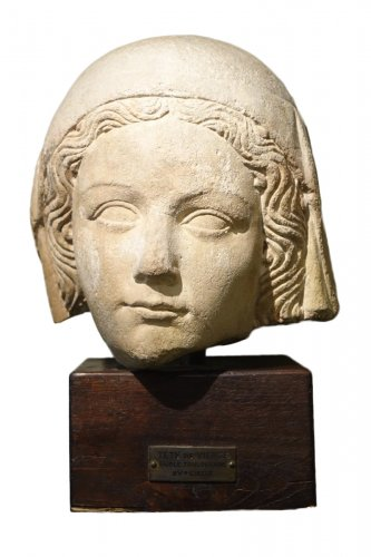 14th Century Head of the Holy Virgin in Limestone, France