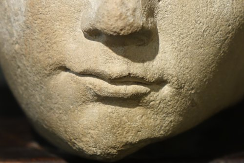 Sculpture  - 14th Century Head of the Holy Virgin in Limestone, France