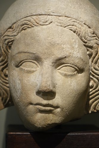 14th Century Head of the Holy Virgin in Limestone, France   -