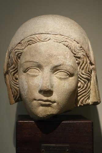 16th century - 14th Century Head of the Holy Virgin in Limestone, France