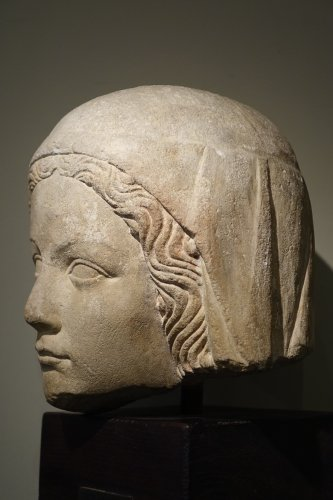 Middle age - 14th Century Head of the Holy Virgin in Limestone, France