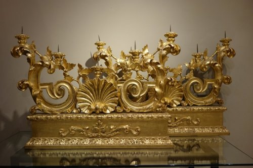 Antiquités - Neoclassical Italian Giltwood Candlesticks, Early 19th Century