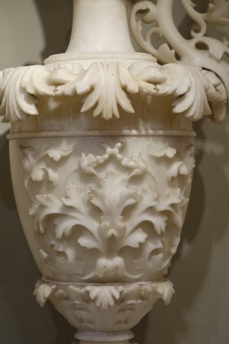 Pair of alabaster ewers, Italy, 19th century - Decorative Objects Style Napoléon III