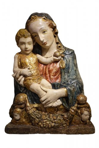 15th Century Polychrome and Parcel-Gilt Stucco Relief of the Madonna and Ch