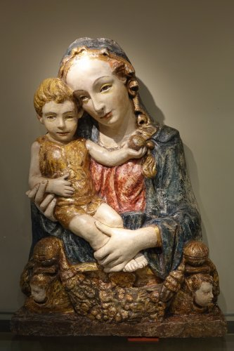 Sculpture  - 15th Century Polychrome and Parcel-Gilt Stucco Relief of the Madonna and Ch