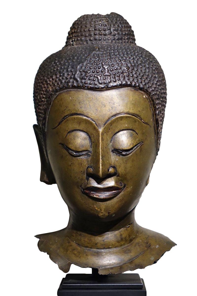 Buddha Head In Lost Wax Casting Bronze Ayutthaya 17th