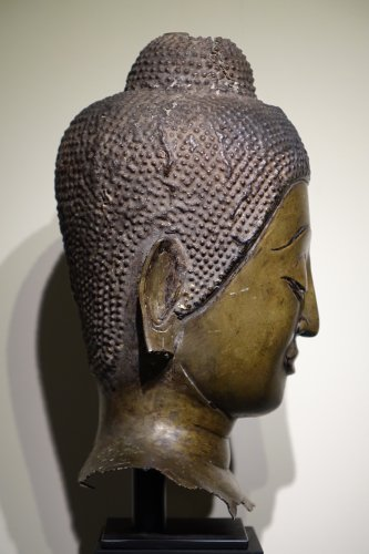 Buddha Head in Lost-Wax Casting Bronze, Ayutthaya, 17th Century, Thailand -