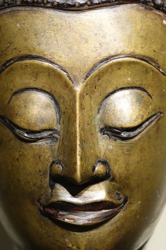 17th century - Buddha Head in Lost-Wax Casting Bronze, Ayutthaya, 17th Century, Thailand