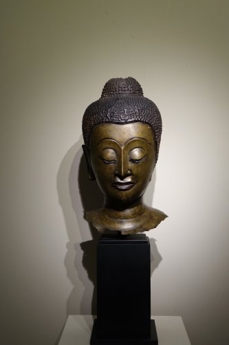 - Buddha Head in Lost-Wax Casting Bronze, Ayutthaya, 17th Century, Thailand