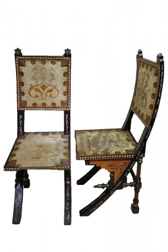 Pair of Chairs by Carlo Bugatti Italian Designer