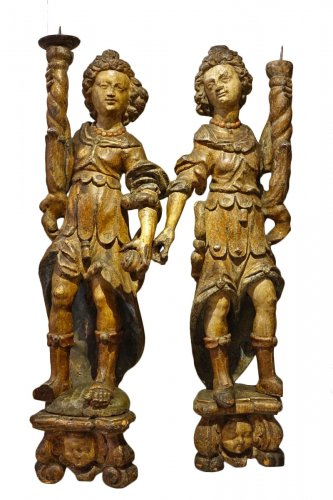 Pair of Angel torchbearers , South of France or Spain , late 16th century