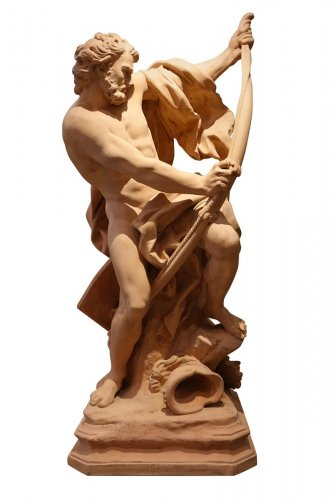 Large Terra Cotta Edition, Warrior Bending His Bow, Dated 1884, France