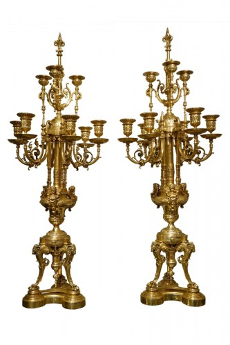 Pair of Important Gilt Bronze Candelabras   circa 1860