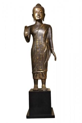 Buddha Standing in Abhaya Mudra Gesture, Lacquered Bronze, circa 1860