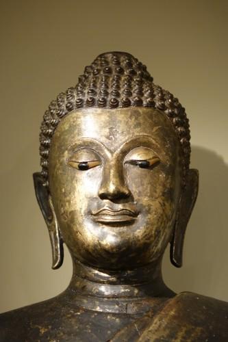 Asian Art & Antiques  - Buddha Standing in Abhaya Mudra Gesture, Lacquered Bronze, circa 1860