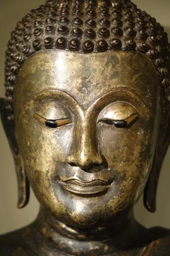 Buddha Standing in Abhaya Mudra Gesture, Lacquered Bronze, circa 1860 -