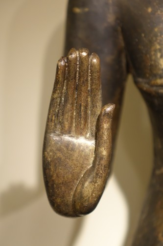 - Buddha Standing in Abhaya Mudra Gesture, Lacquered Bronze, circa 1860