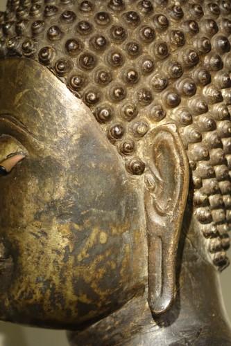 Antiquités - Buddha Standing in Abhaya Mudra Gesture, Lacquered Bronze, circa 1860
