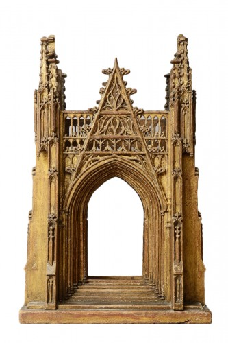 Gilded Wooden Reliquary in the Shape of a Gothic Cathedral, England 15th Ce