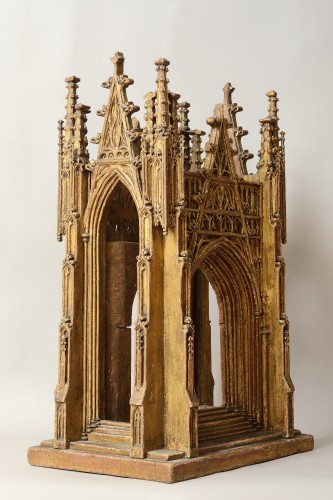 Gilded Wooden Reliquary in the Shape of a Gothic Cathedral, England 15th Ce - Religious Antiques Style Renaissance