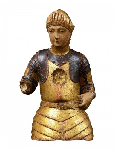Reliquary Bust of Saint George, Gift Polychrome Wood, 15th Century, Tuscany