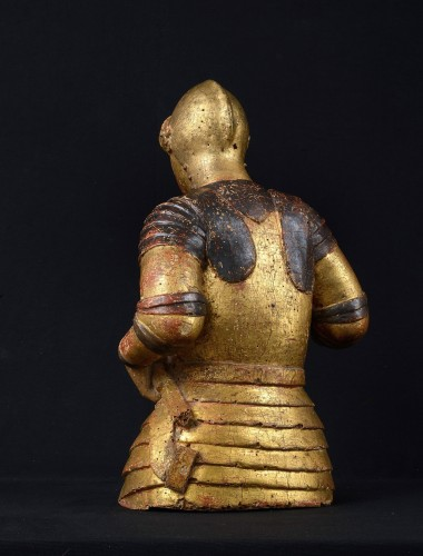 Religious Antiques  - Reliquary Bust of Saint George, Gift Polychrome Wood, 15th Century, Tuscany