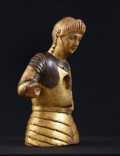 Reliquary Bust of Saint George, Gift Polychrome Wood, 15th Century, Tuscany -