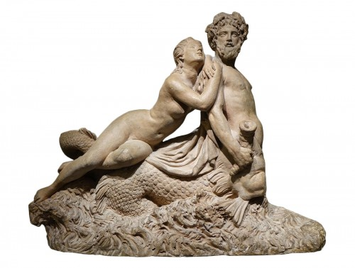 Marine Centaur and Nymph, Original Terracotta, French work, circa  1770