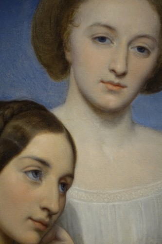 Portrait of Two Young Girls, Oil on Panel Signed Ary Scheffer -
