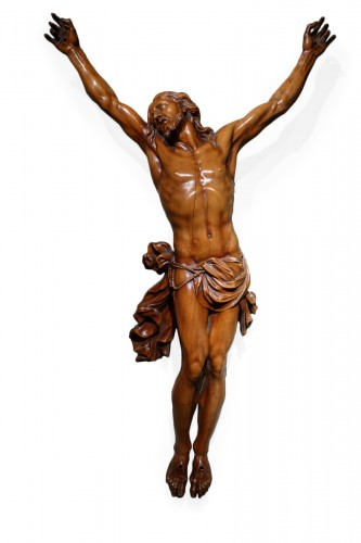 Large Christ on the cross in fruitwood, France 18th century circa 1740