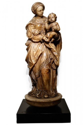 Virgin and Child in Alabaster, Flanders, 17th Century
