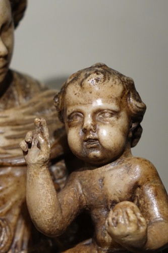 Virgin and Child in Alabaster, Flanders, 17th Century -