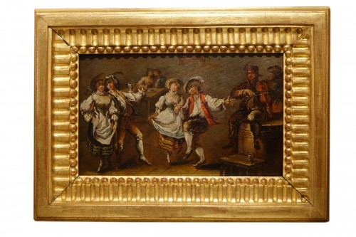 Two Couples Dancing, Oak on Panel, Mid-18th Century French School