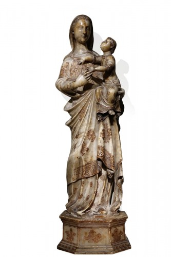 Virgin and Child in Alabaster International Gothic,North of Italy, 16th Cen