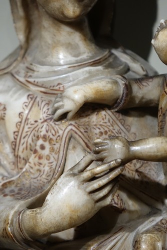 Sculpture  - Virgin and Child in Alabaster International Gothic,North of Italy, 16th Cen