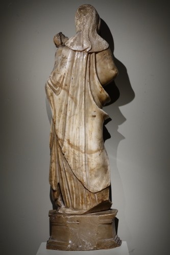 Antiquités - Virgin and Child in Alabaster International Gothic,North of Italy, 16th Cen