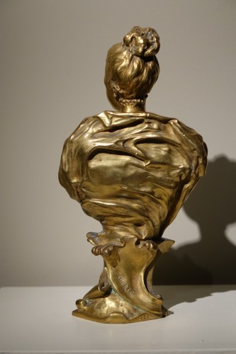Sculpture  - Bust of a Young Woman Gilt Bronze, Signed E.LAPORTE