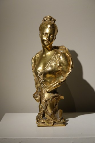 Bust of a Young Woman Gilt Bronze, Signed E.LAPORTE -