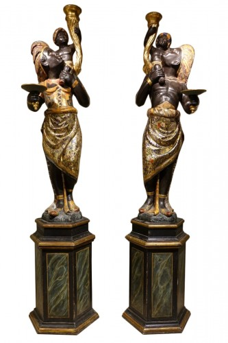 Pair of Large Venetian Blackamoor Torch Statues, Venice, 19th Century