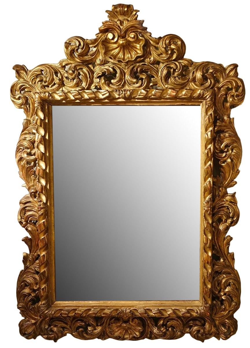 Large Italian 18th Century Carved Gilt Wood Mirror - Ref.67272