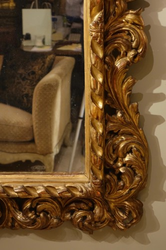 Large Italian 18th Century  Carved Gilt Wood  Mirror  - Mirrors, Trumeau Style